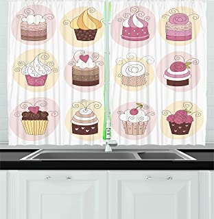 Ambesonne Kitchen Decor Collection, Cupcakes Bakery Pastry Design  Confectioners Decorations Cake Retro Style Decor ,