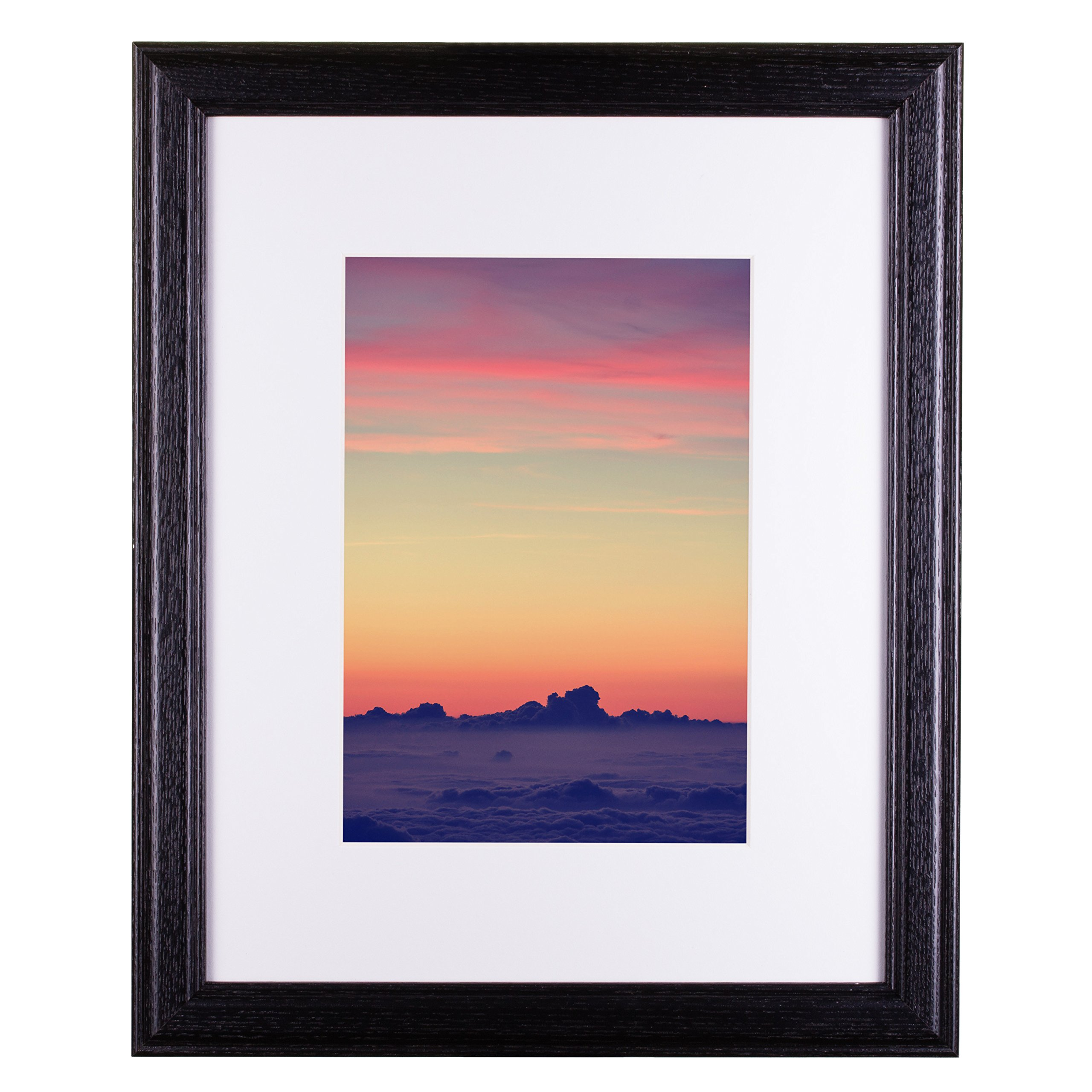 Craig Frames Wiltshire 236 Simple Hardwood Picture Frame with Single White Mat, Displays a 16 x 20 Inch Print with The Mat or 20 x 24 Inch Without The Mat, Black by Craig Frames