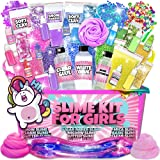 Slime Kit for Girls - 2 in 1 - DIY Slime Making Kit PLUS Slime Supplies Kit - All-Inclusive [57 Pieces Set] DIY Slime Kit With Instant Snow, Clear Glue, Foam Balls, Slime Glue, White Glue