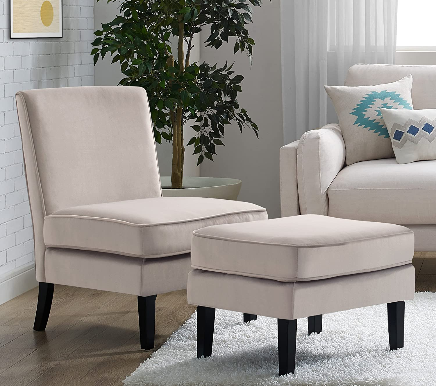 Elle Decor UPH10020B Elle Décor Olivia Chair and Ottoman, Accent, Taupe