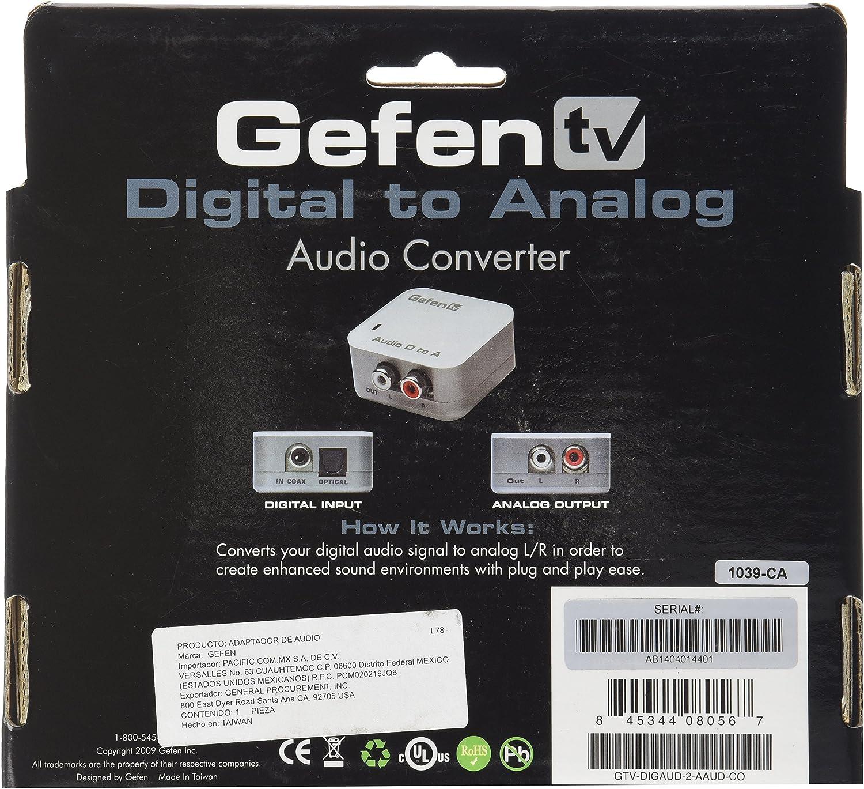 Gefen Digital Audio To Analog Audio Adapter//Converter GTV-DIGAUD-2-AAUD