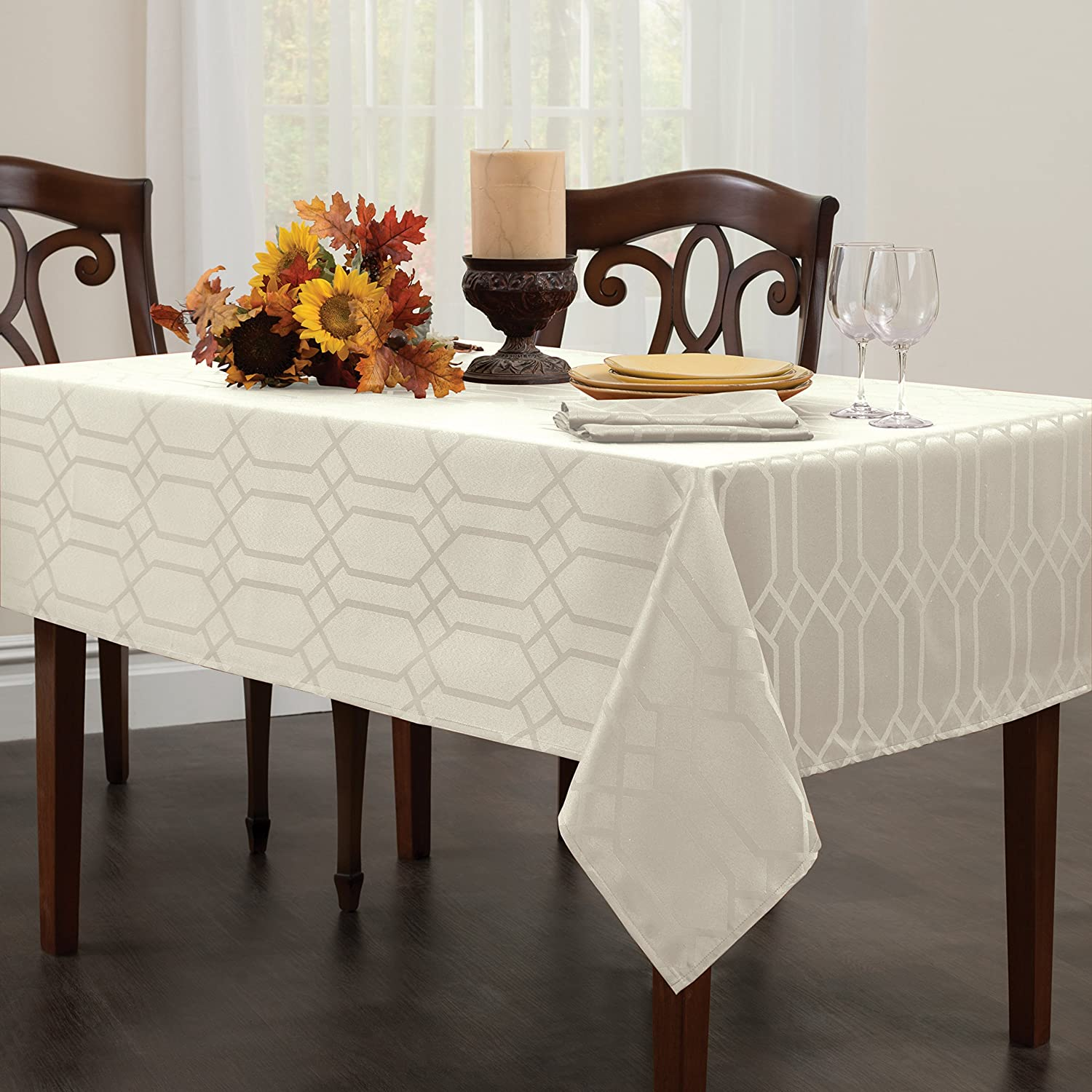 Amazon.com: Benson Mills Chagall Spillproof Fabric Tablecloth, 60 By  84 Inch, Off White: Home U0026 Kitchen Part 36