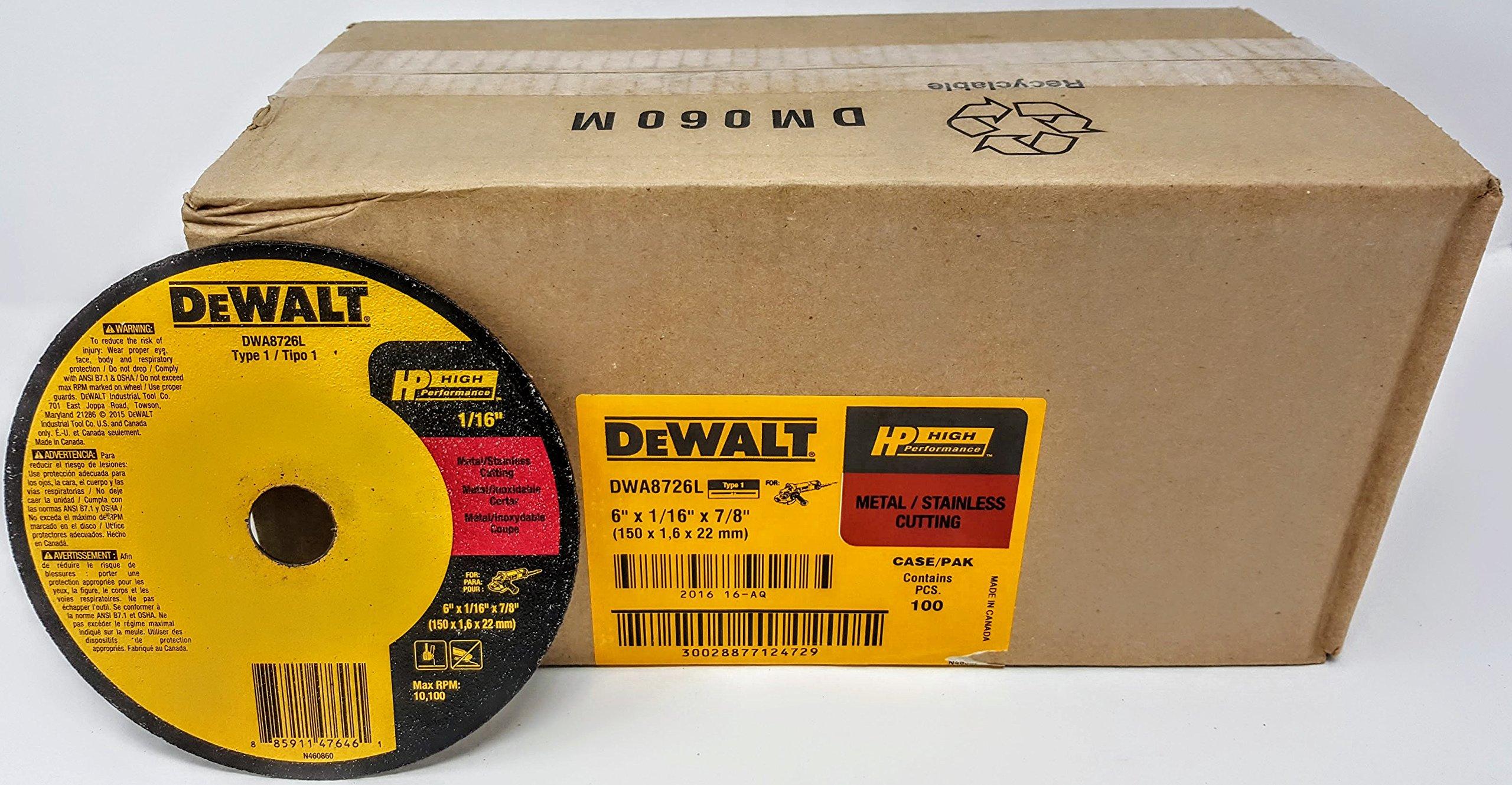 (100-Pack) Dewalt DWA8726L 6'' x 1/16'' x 7/8'' T1 High Performance Cut-Off Wheels