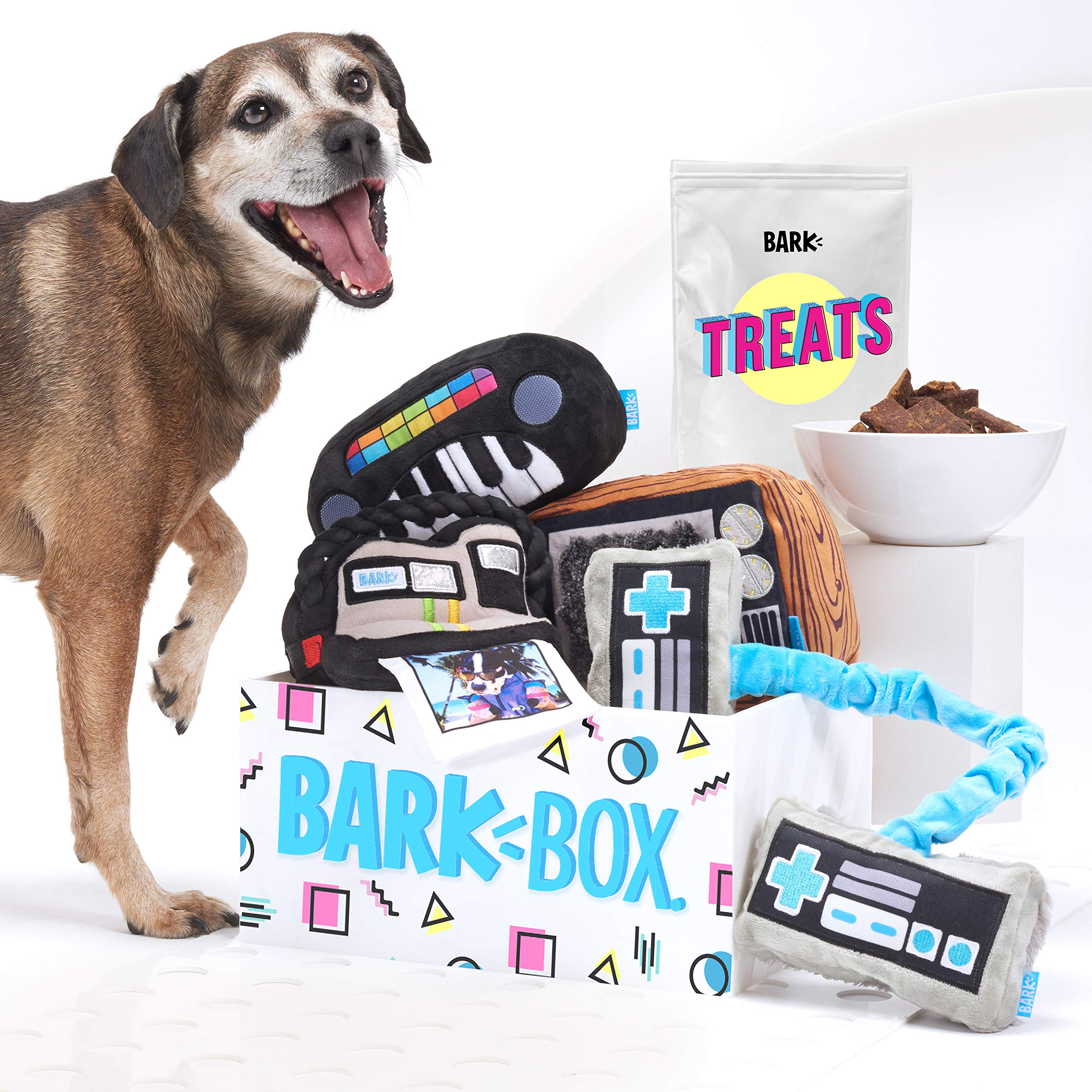 BarkBox Supersized 90s Throwback Electronic Dog Toy Bundle; Four Toys and One Bag of All Natural Treats Made in The USA; Size Large