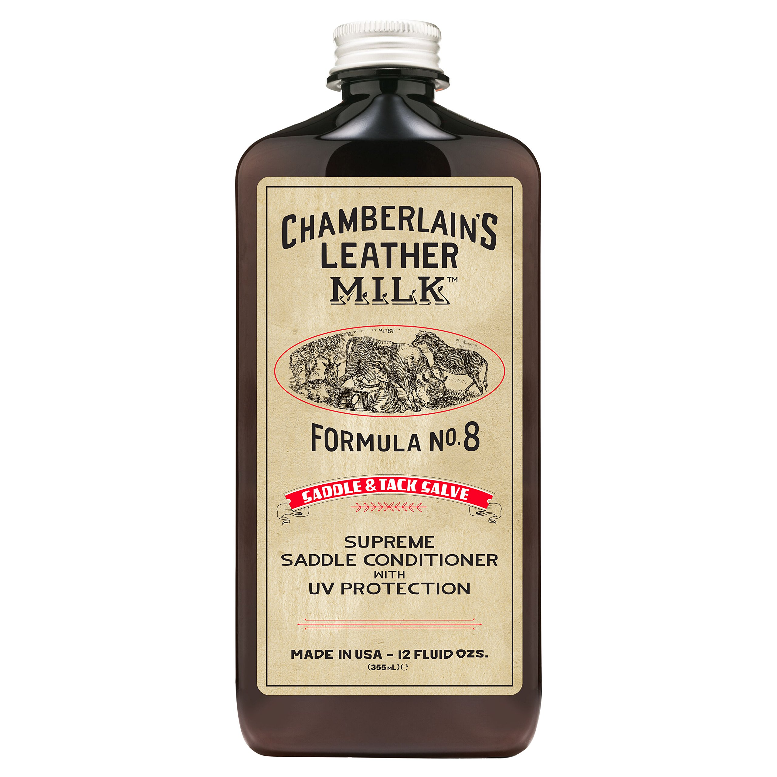 Leather Milk Saddle & Tack Leather Conditioner and Cleaner - Saddle Conditioner No. 8 - All-Natural, Non-Toxic Conditioner w/ UV Protection. Dye and Scent Free. Made in USA. Includes Conditioning Pad! by Chamberlain's Leather Milk