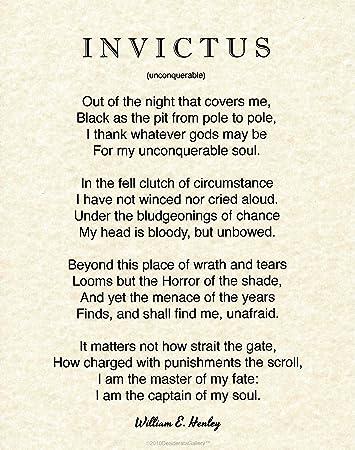 Desiderata Gallery Brand Invictus Poster Quote 11 X 14 Written By William E Henley In 1875 Natural Parchment