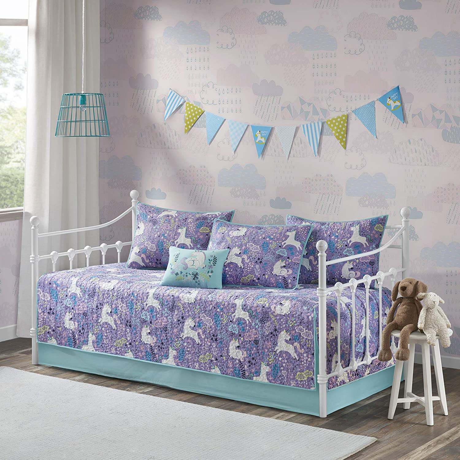 Urban Habitat Kids Lola Daybed Cover Reversible Cotton Unicorn Flower Botanical Printed Quilt Embroidered Pillow Down Alternative Hypoallergenic All Season Coverlet Bedding-Set, Purple