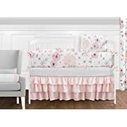 Sweet Jojo Designs 9-Piece Blush Pink, Grey and White Shabby Chic Watercolor Floral Baby Girl Crib Bedding Set with Bumper Rose Flower Polka Dot