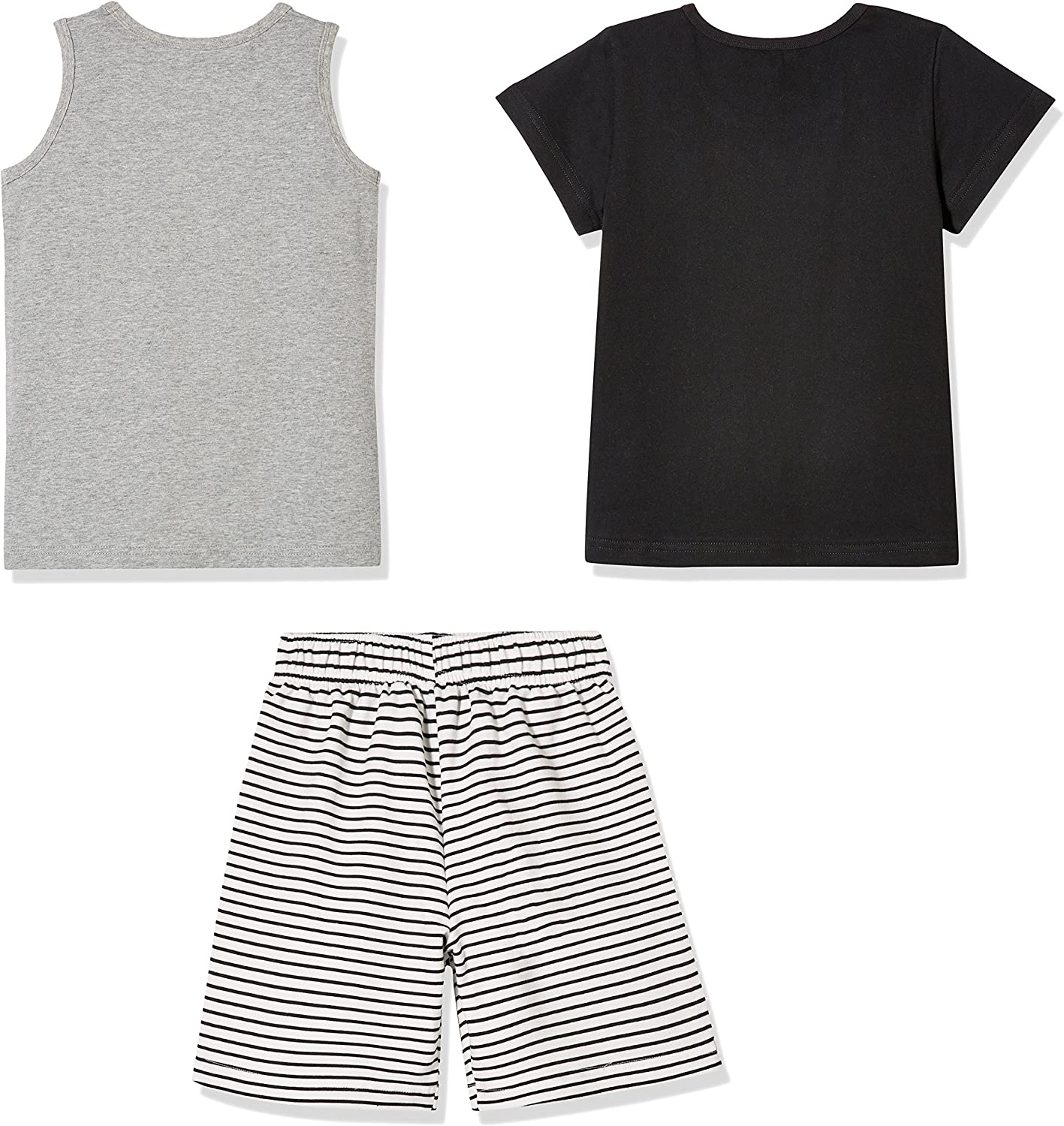 Grey Tank Top and Black Stripe Shorts for Toddlers and Little Boy Sprout Star 3-Pcs Set Cotton Solid Black T-Shirt