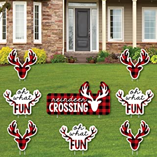 product image for Big Dot of Happiness Prancing Plaid - Yard Sign and Outdoor Lawn Decorations - Christmas and Holiday Buffalo Plaid Yard Signs - Set of 8