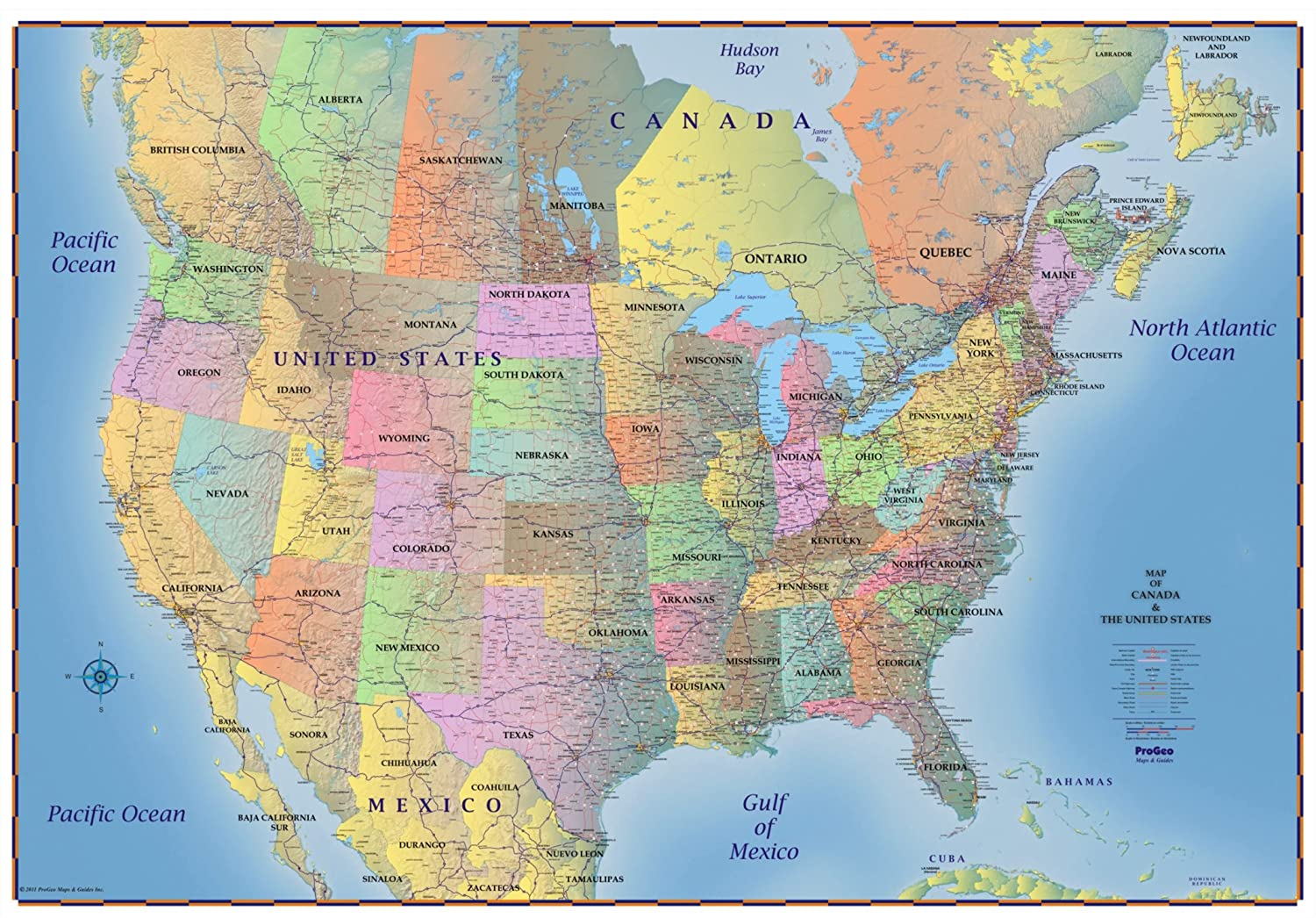 ProGeo Maps Trucker's Wall Map of Canada USA & Northern Mexico Laminated 69 x 48LAMINATED