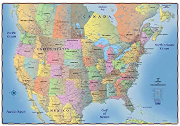 Map Of Canada Usa.Progeo Maps Trucker S Wall Map Of Canada Usa Northern Mexico Laminated 69 X 48 Laminated