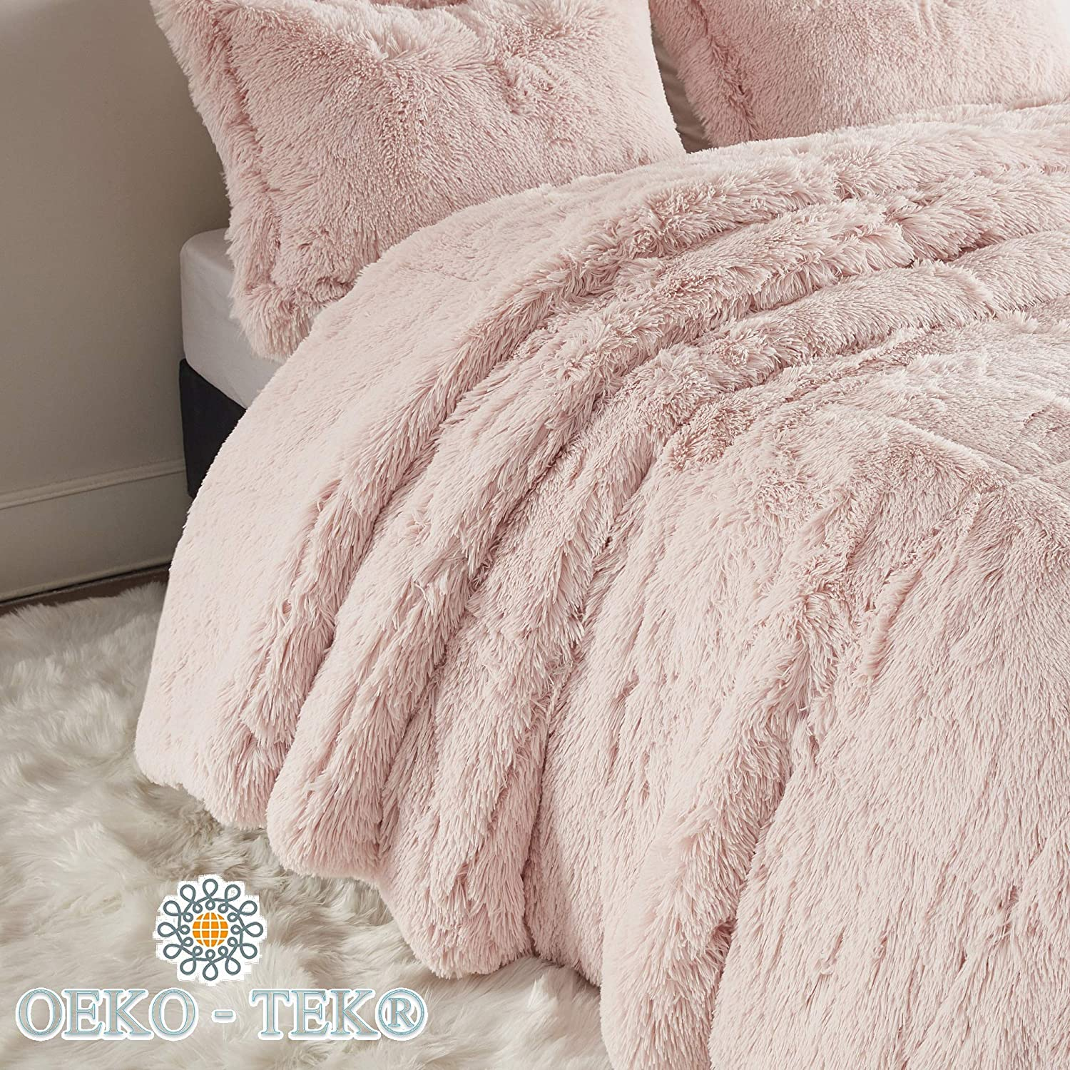 Blush Intelligent Design Malea 2 Piece Shaggy Faux Fur Comforter Solid Plush Double Sided Box Design Modern Casual All Season Quilt Bedding Set with Matching Sham Twin//Twin XL