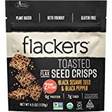Flackers Toasted Seed Crisps, Black Sesame Seed and Black Pepper, 4.5 ounces