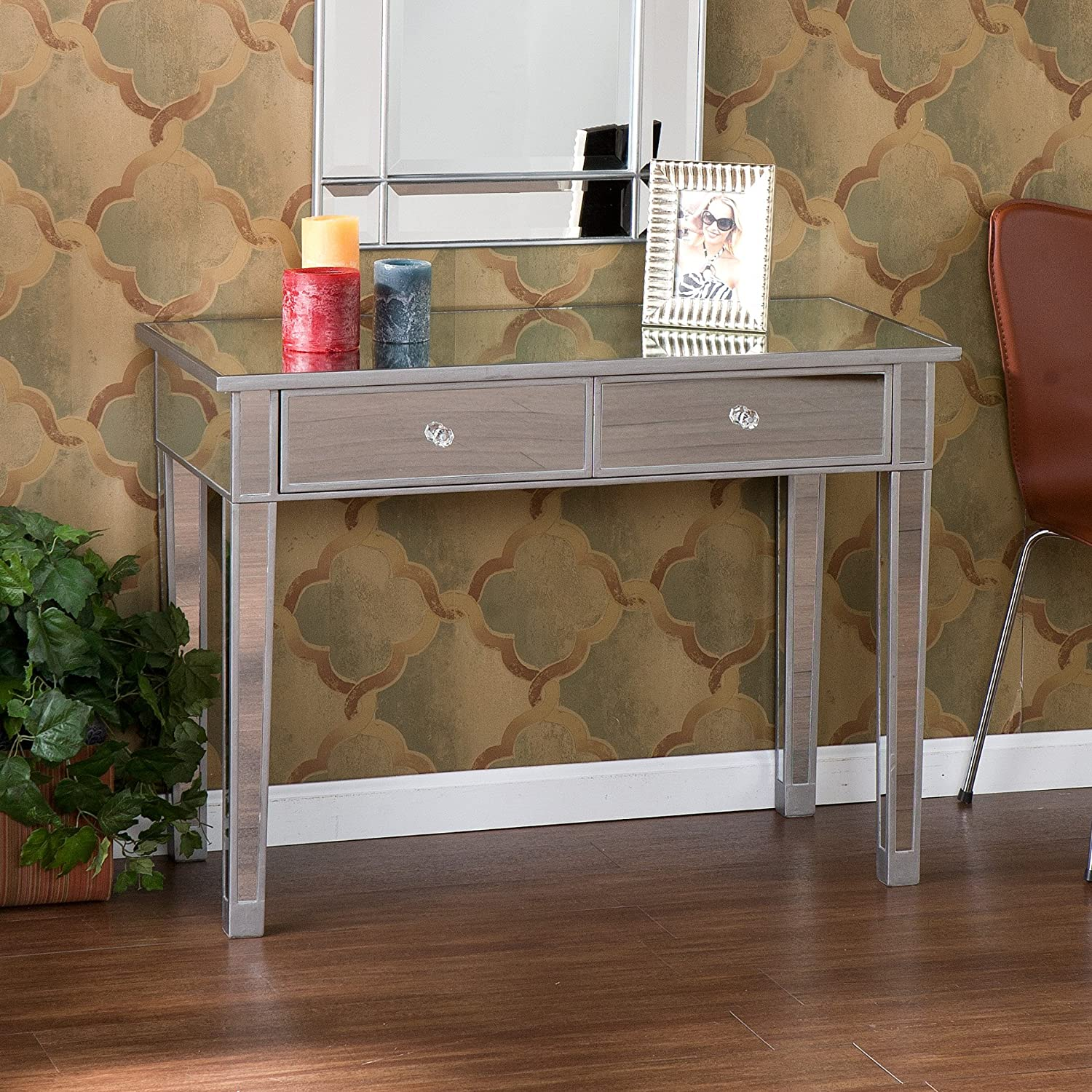 amazoncom southern enterprises mirage mirrored  drawer media  - amazoncom southern enterprises mirage mirrored  drawer media consoletable matte silver finish with faux crystal knobs kitchen  dining