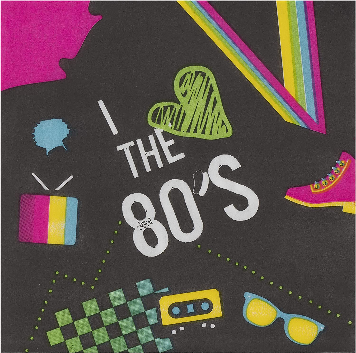 80's Party Napkins, Black (6.5 x 6.5 Inches, 150 Pack)