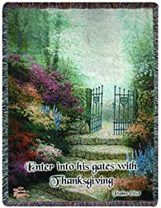 Manual Thomas Kinkade 50 x 60-Inch Tapestry Throw with Verse, Garden of Promise