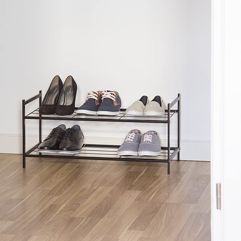 relaxdays shoe rack sandra with 2 shelves small metal shoe storage unit size 335 x 695 x 26 cm for 6 pairs of shoes with handles black