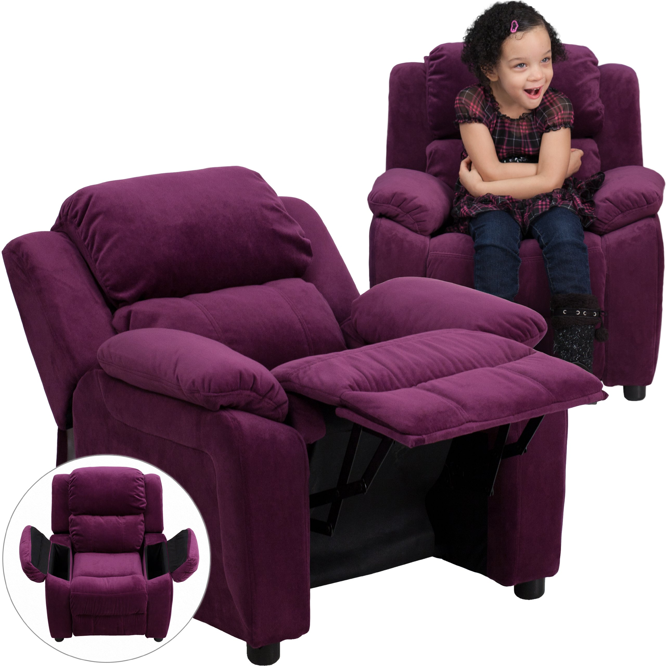 Winston Direct Kids' Series Deluxe Padded Contemporary Purple Microfiber Recliner with Storage Arms