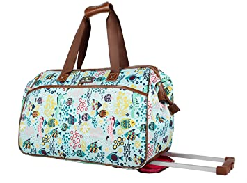 995e5c87b6 Image Unavailable. Image not available for. Color  Lily Bloom Luggage  Designer Pattern Suitcase Wheeled Duffel Carry ...