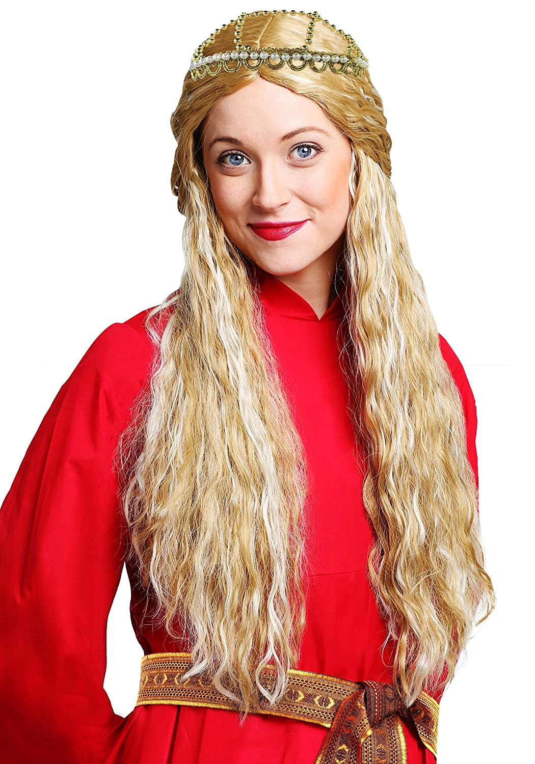 a9f1bd70f52ea3 Amazon.com  Fun Costumes The Princess Bride Long Waved Synthetic Blonde  Buttercup Wig Standard Yellow  Clothing