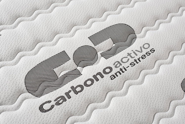 Colchones Naturalex- Colchón 105 x 190 cm VISCO CARBONE espuma visco-elástica + BLUE LATEX®: Amazon.es: Hogar