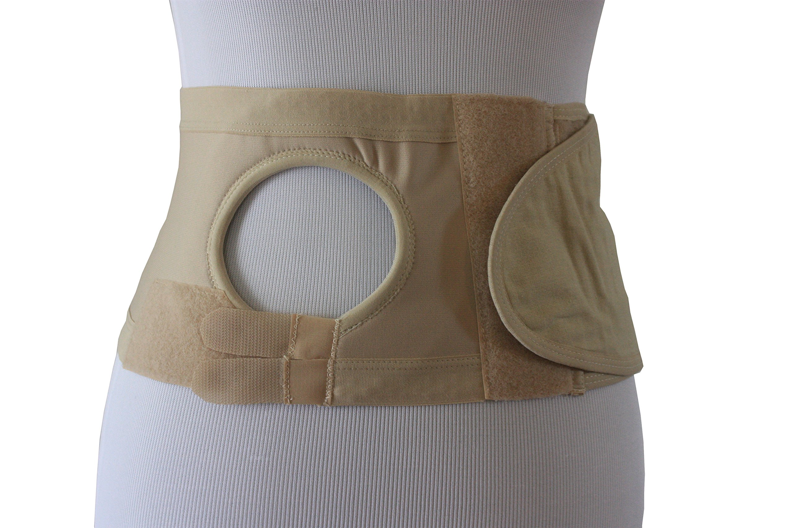 Safe n' Simple Right Unisex Ostomy Hernia Support Belt with Adjustable Hole, 6'', Beige, XX-Large by Safe n' Simple