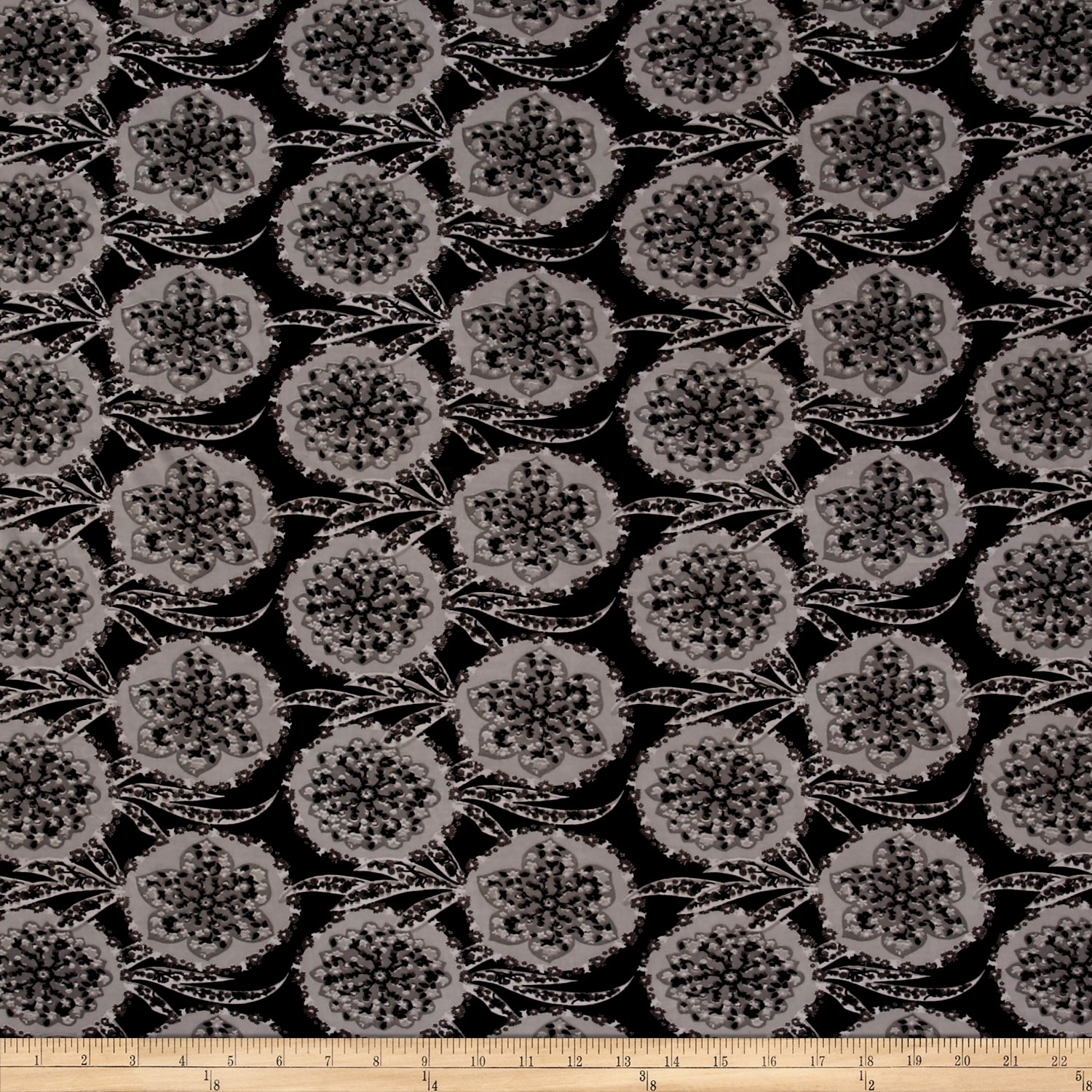 98174d81fa4 Amazon.com: Fabric ITY Stretch Jersey Knit Medallion Floral Charcoal/Grey/Black  Yard