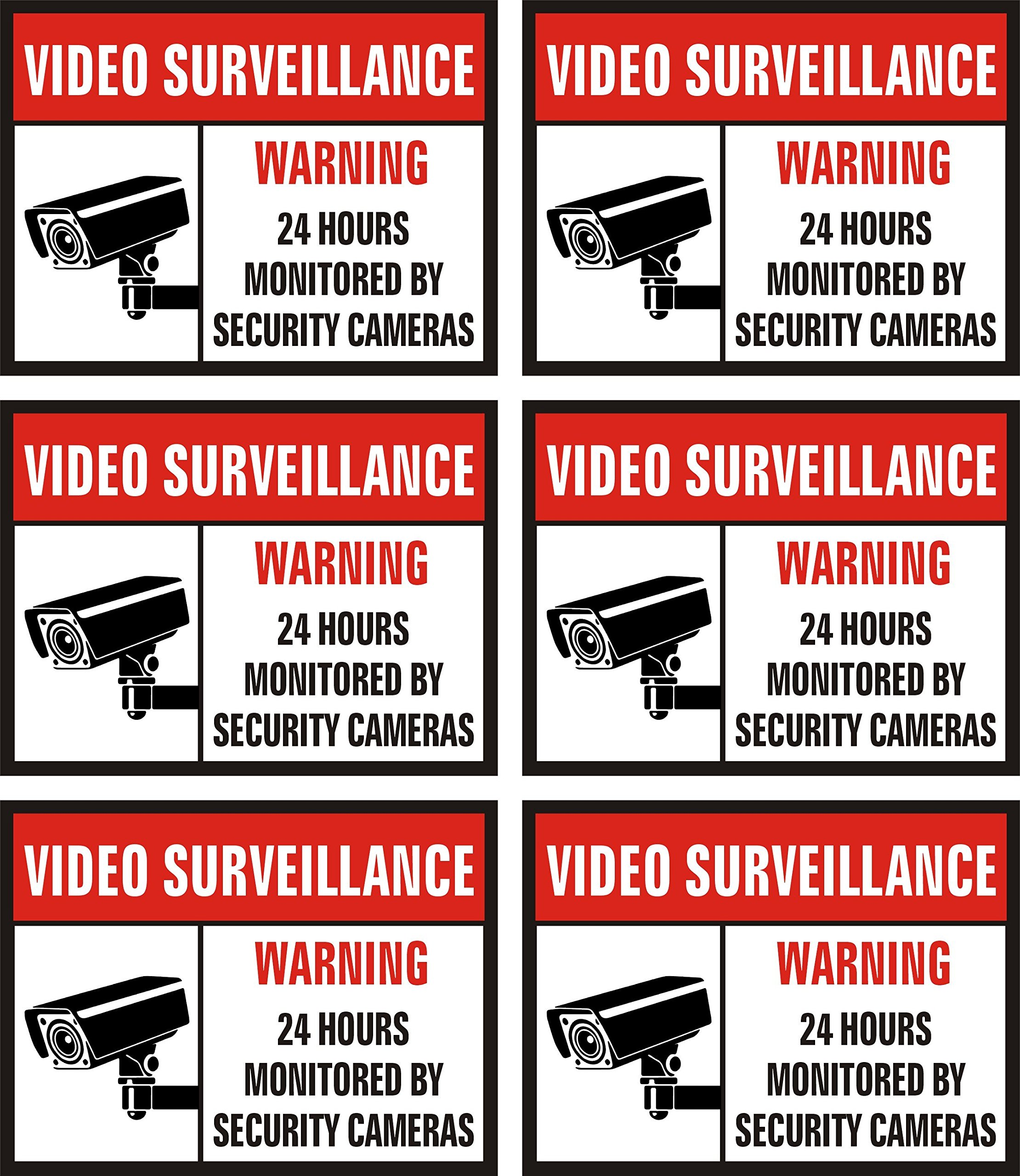Jancosta 24 Hour Video Surveillance Sticker Decals, Security Warning Sign for Business and Home, Indoor and Outdoor (3x4'' Pack of 6)