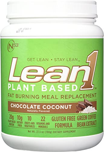 LEAN1 Nutrition 53 Meal Replacement Powder for Weight Loss, Fat Burner, Appetite Control, Plant Based Chocolate Coconut 32 Ounce