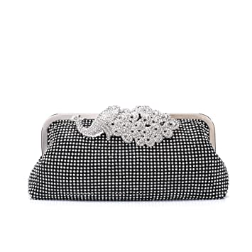 b98b47d7ec Buy Womens Evening Bag with Rhinestones Crystal Clutch Purse Prom Shoulder  Handbag for Wedding Party iPhone 7 Plus Black by Minicastle Online at Low  Prices ...