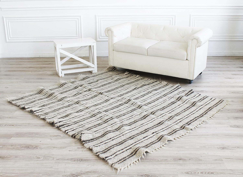Grey Wool Rug Woven Area Rug Striped Handmade Living Room Modern Home Decor