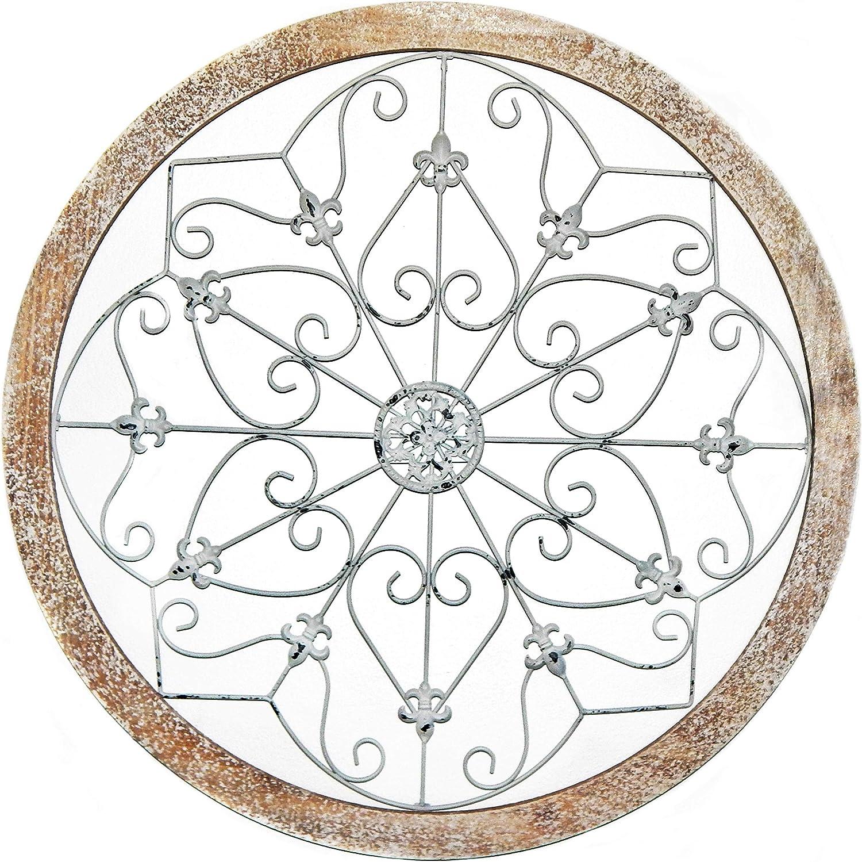 Bellaa 23981 Metal Wall Art Wrought Iron Snowflake Wood 24 inch