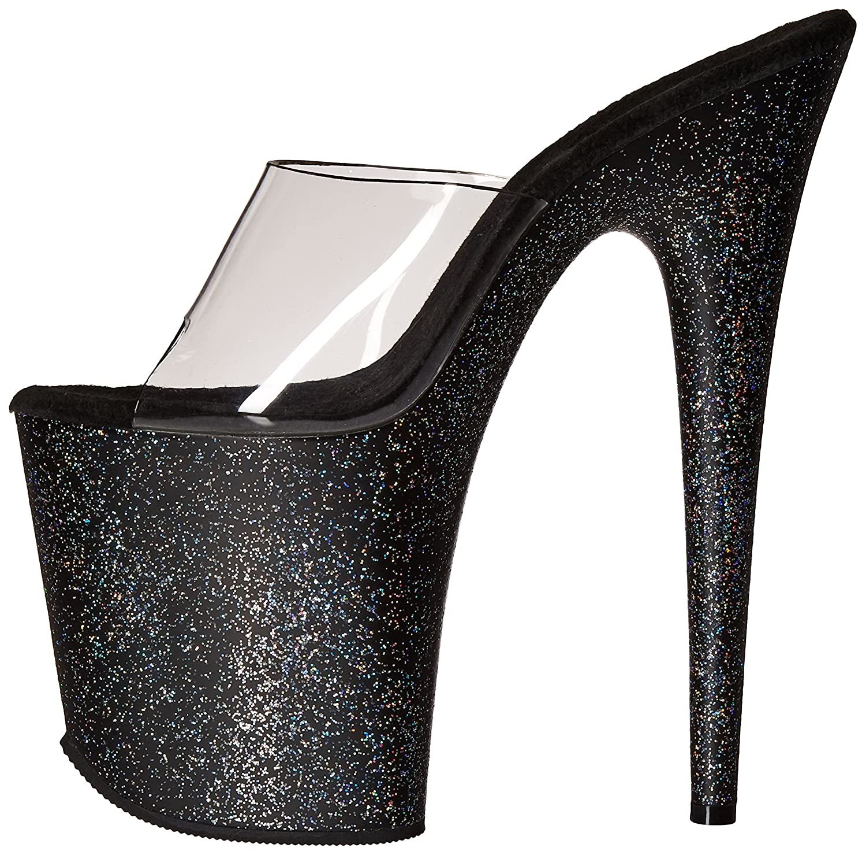 Pleaser Women's Flam801mg/c/b Platform Sandal B01ABTBT90 5 B(M) US|Clear/Black Glitter