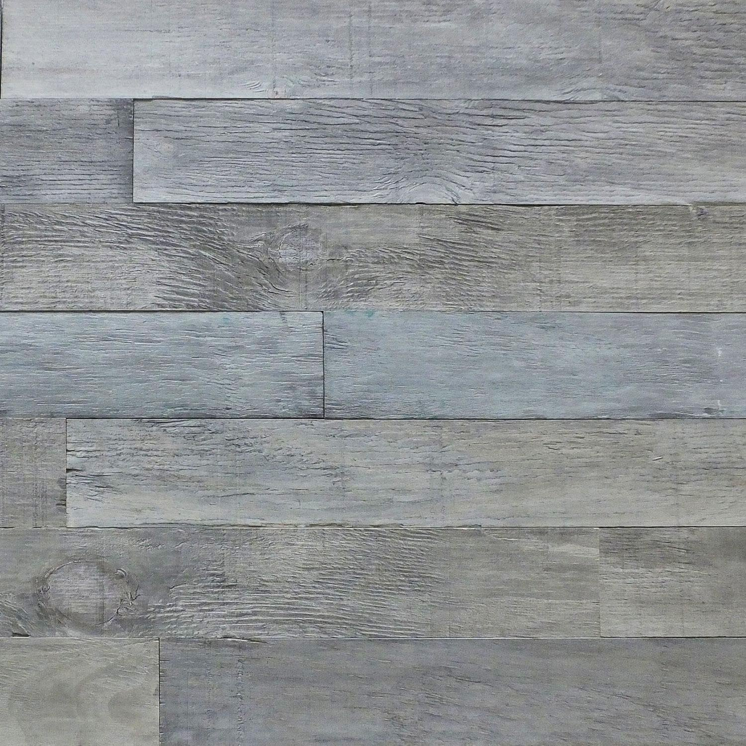 FOUR CLOVER Wood Wall Outdoor/Indoor Panels - Reclaimed Barn Wood Wall Panels - DIY Peel and Stick Easy Installation (20 Sq Ft - 5 Wide, Pewter Grey)