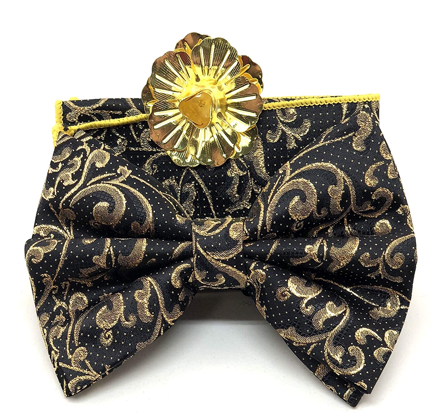 Big Bow Tie with Hankie and Metallic Flower Lapel Black and Gold