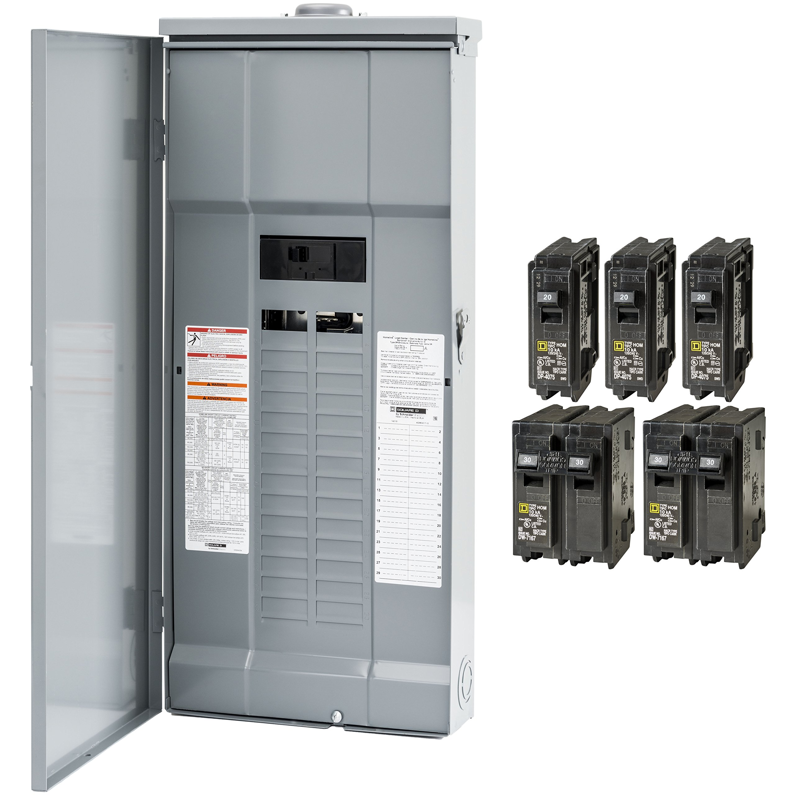 Square D by Schneider Electric HOM3060M200PRBVP Homeline 200 Amp 30-Space 60-Circuit Outdoor Main Breaker Load Center - Value Pack (Plug-on Neutral Ready), ,