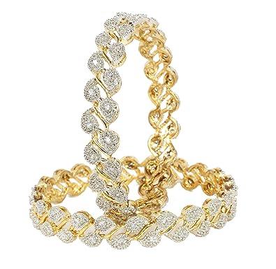Sanara Indian Bollywood gold plated Zircon made Ethnic Diamontic bangle set for women Party wear jewelry wuQKCMZvS