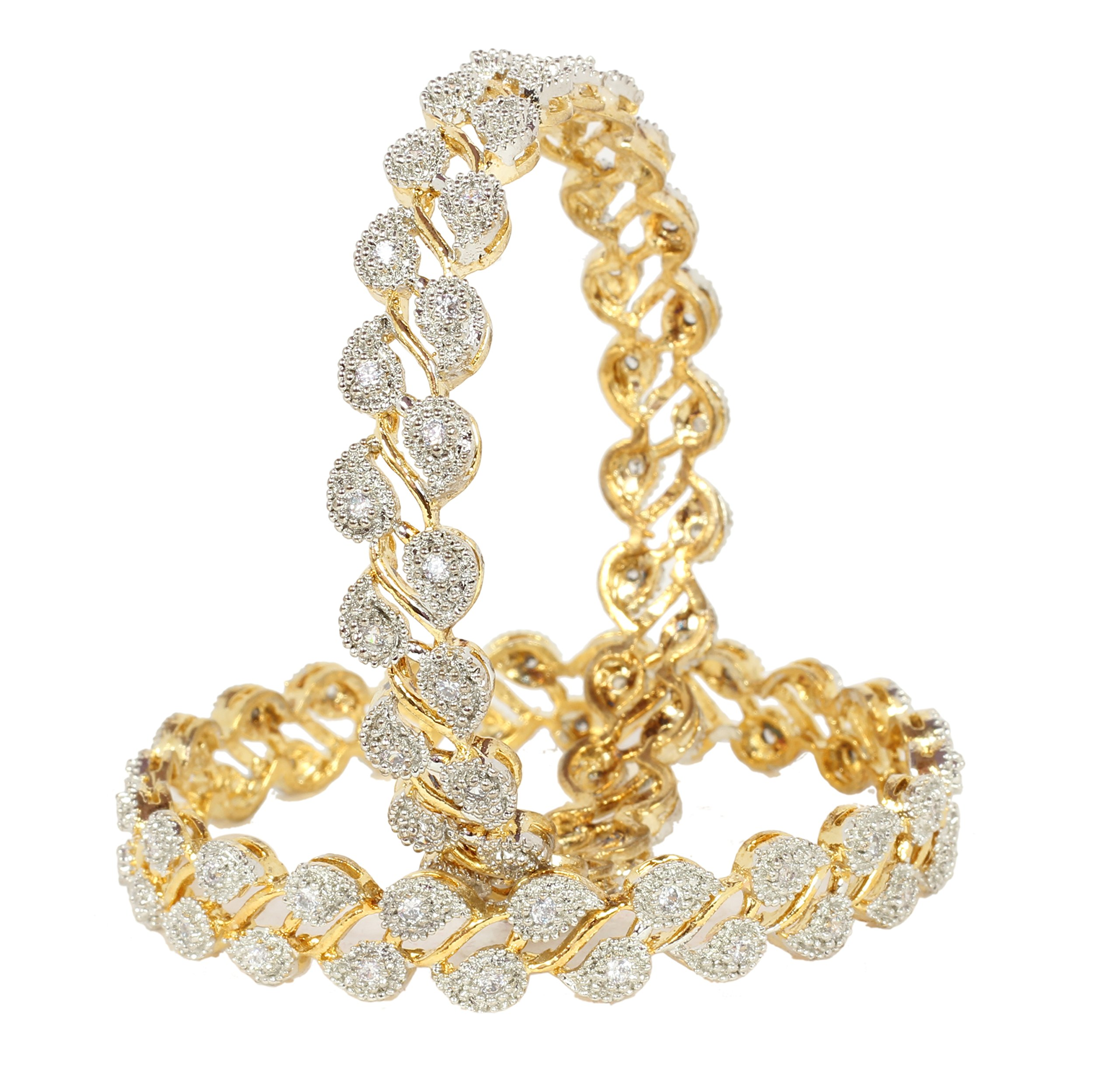 Indian Traditional Bollywood Gold Plated Zircon Made American Diamond Bangle Set Party Jewelry (2.4)