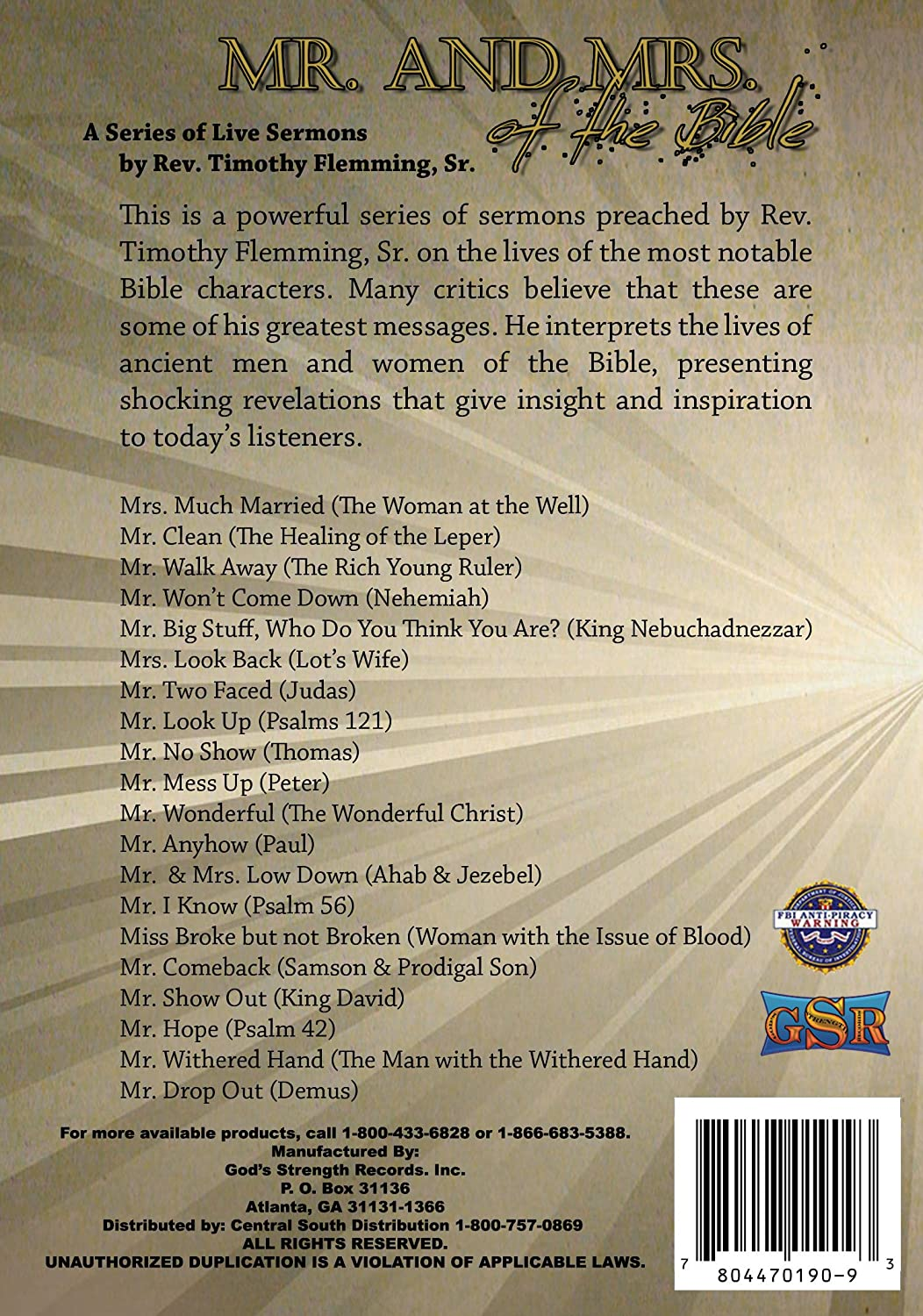 Amazon com: Mr  and Mrs  of The Bible: Rev  Timothy Flemming