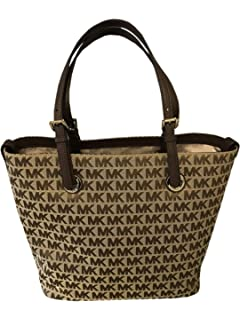 18c6adffc67d Michael Kors Jet Set MK Signature Grab Bag Tote Handbag Purse BG/EB/JAVA