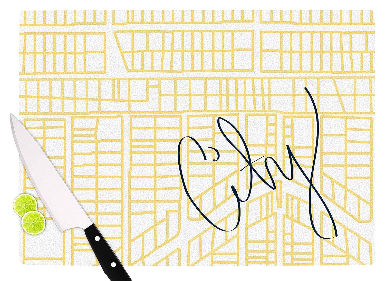 11.5 x 8.25 KESS InHouse BB2021ACB01 Love MidgeCity Streets And Parcel Maps Yellow Travel Cutting Board Multi