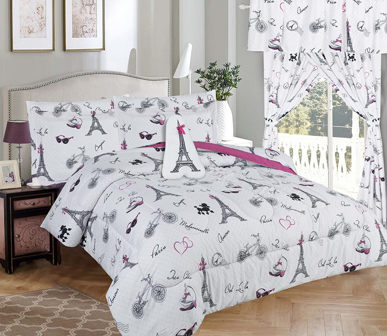 MiCasa Kids Girl Comforter Set White Pink Paris Eiffel Design Twin Size