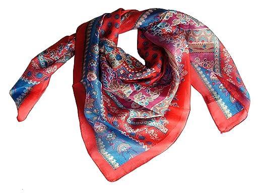 4ff5b191a51c Foulard 100% soie carré 100 x 100 cm rouge et bleu  Amazon.fr ...