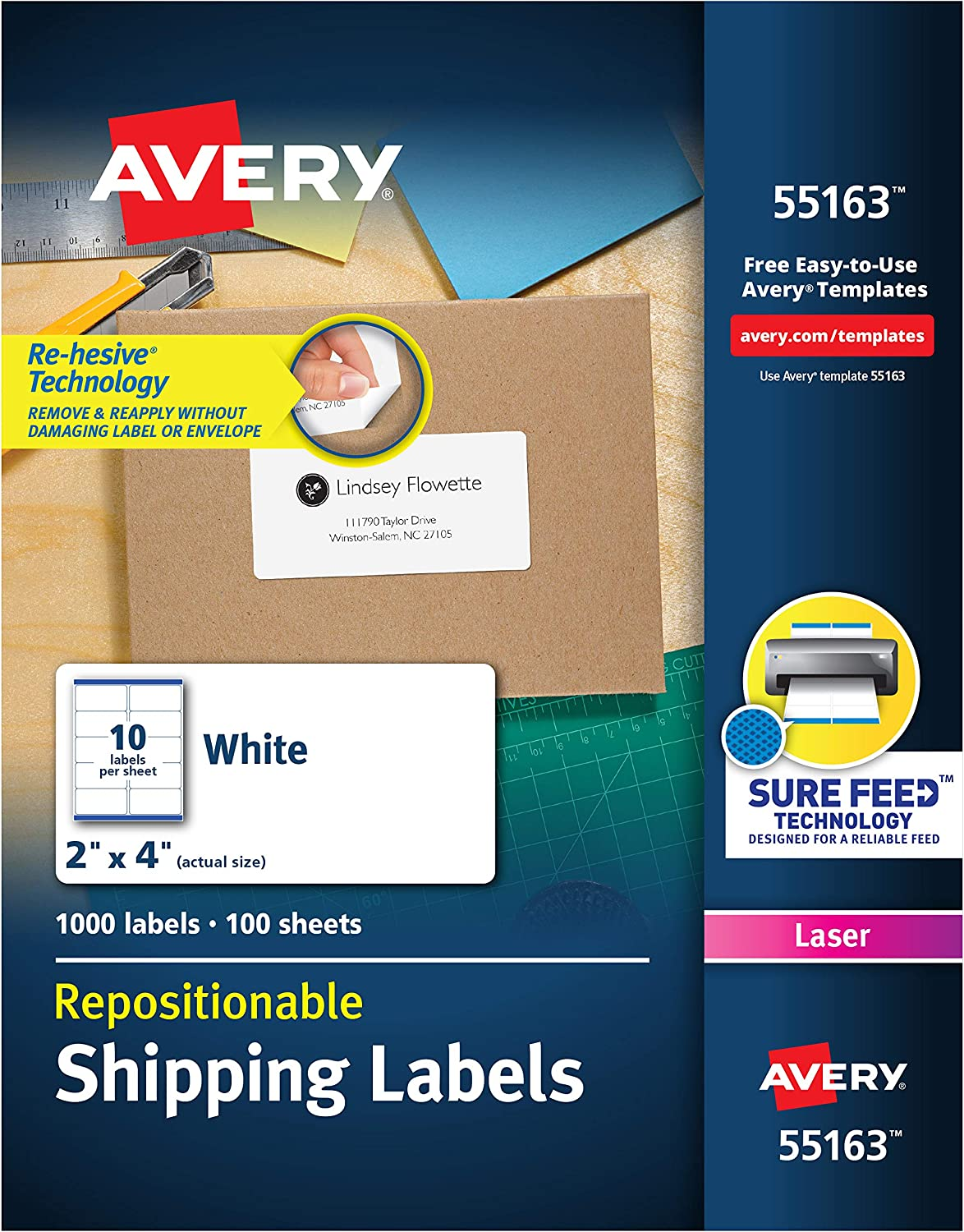 Avery Repositionable Shipping Labels for Laser Printers 2 x 4, Box of 1,000 (55163)