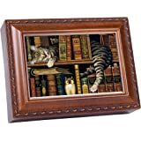 Cat Sleeping in library Wooden Music Box That's What Friends are For MB249