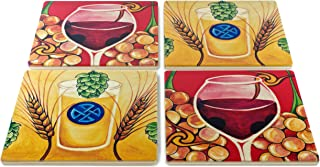 product image for Hops and Barley and Good Vintage Coasters - Original Paintings By Christi Sobel - Set of 4 Wooden Coasters