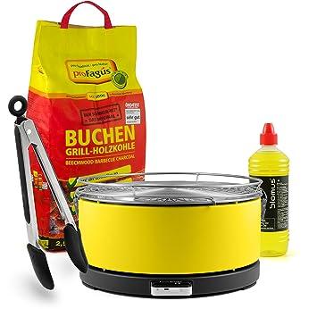 Mayon Fuego Diseño Carbón mesa grill, Amarillo, incluye 2,5 kg Barbacoa de