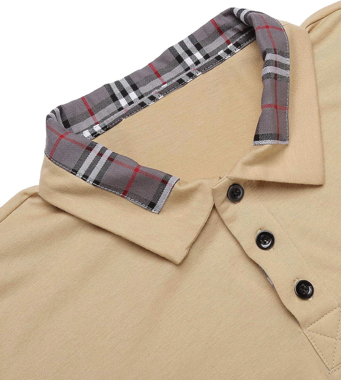 COOFANDY Herren Poloshirt Langarm Einfarbig Freizeit Polo Kragen Plaid splei/ßen Polohemd f/ür M/änner