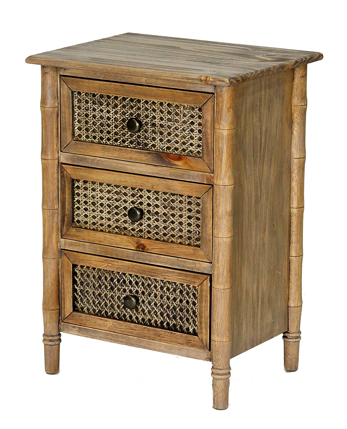 Heather Ann Creations Wallace Collection Living Room Bamboo Style 3 Drawer Free Standing Chest - Rustic Farmhouse